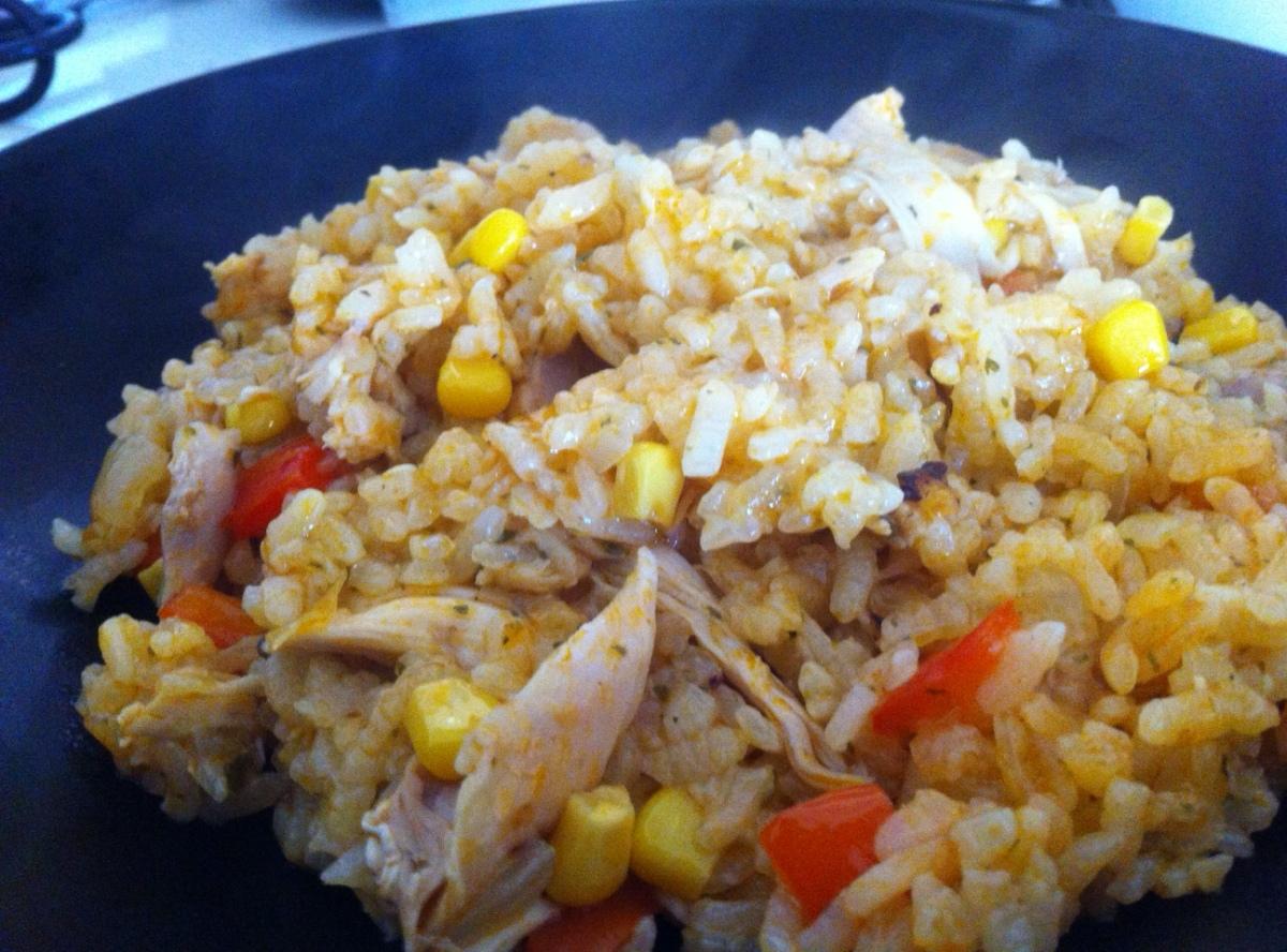 Arroz con pollo en olla arrocera tras la receta for Que cocinar con pollo