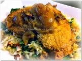 Lomo de cerdo en salsa especiada a la vainilla con arroz salteado